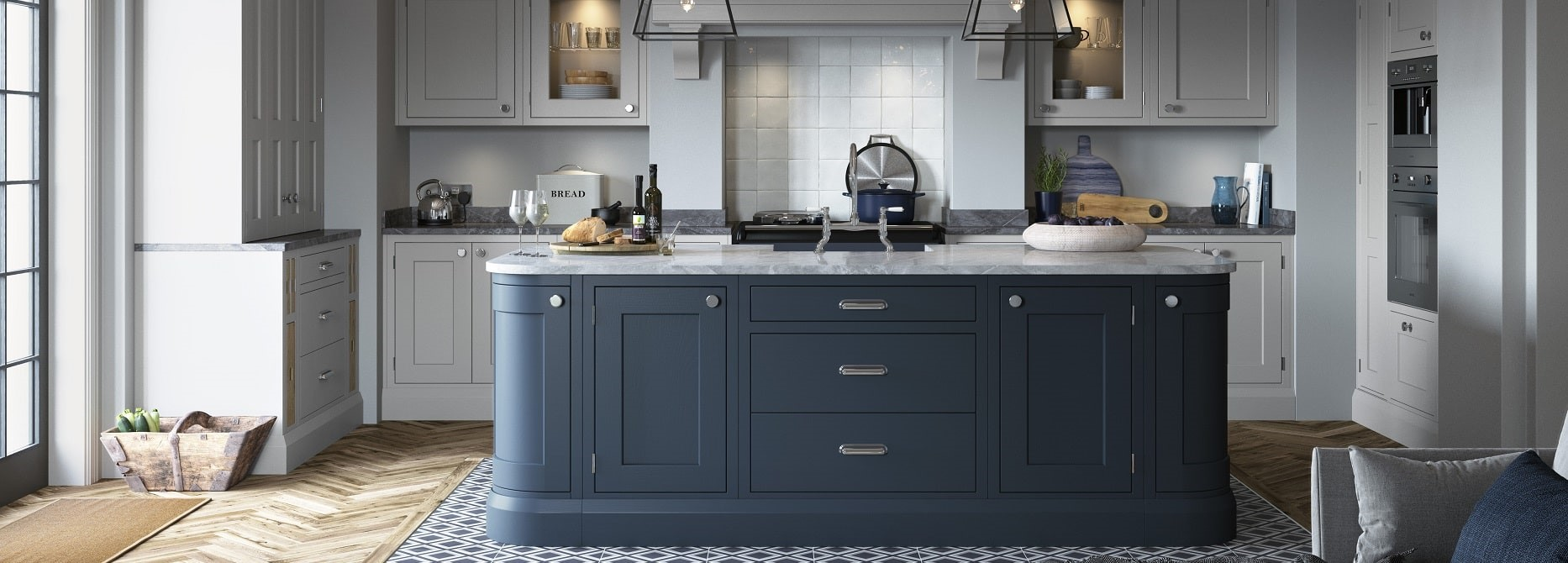 Baystone Light Grey & Dark Blue